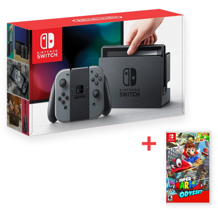 Nintendo Switch Console With Gray Joy Con And Super Mario Odyssey Bundle