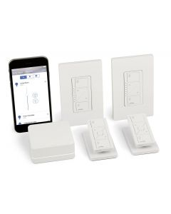 Lutron Caseta Wireless Smart Lighting Deluxe Kit: 1 Smart Bridge, 2 In-Wall Smart Dimmers with Wallplates, 2 Pico Remotes, 2 Tabletop Pedestals, Works with Alexa