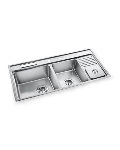 "39 ½"" Drop In Double Bowl Stainless Steel Sink with Soap Dispenser"