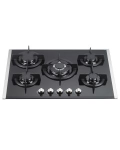 70 cm Gas Cooktop Vetro Prof. With 5 Burners Black